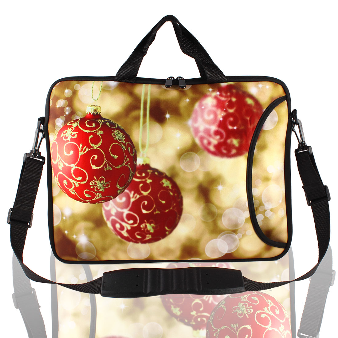 "17"" Xmas Ball Prints Messenger Shoulder Bag Sleeve Case Cover for PC Laptop"