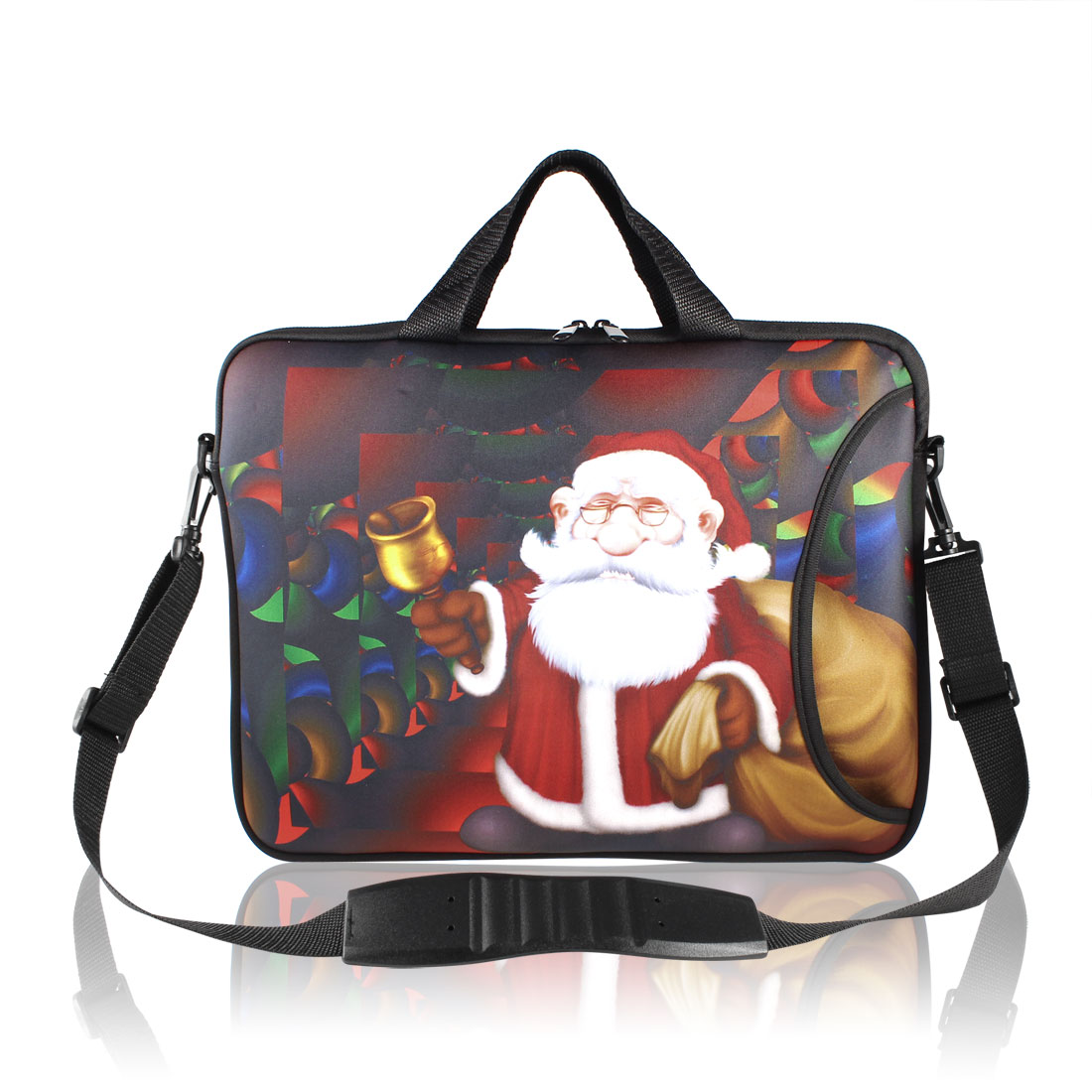"17"" 17.3"" Santa Claus Print Notebook Laptop Sleeve Bag w Handle Shoulder Strap"