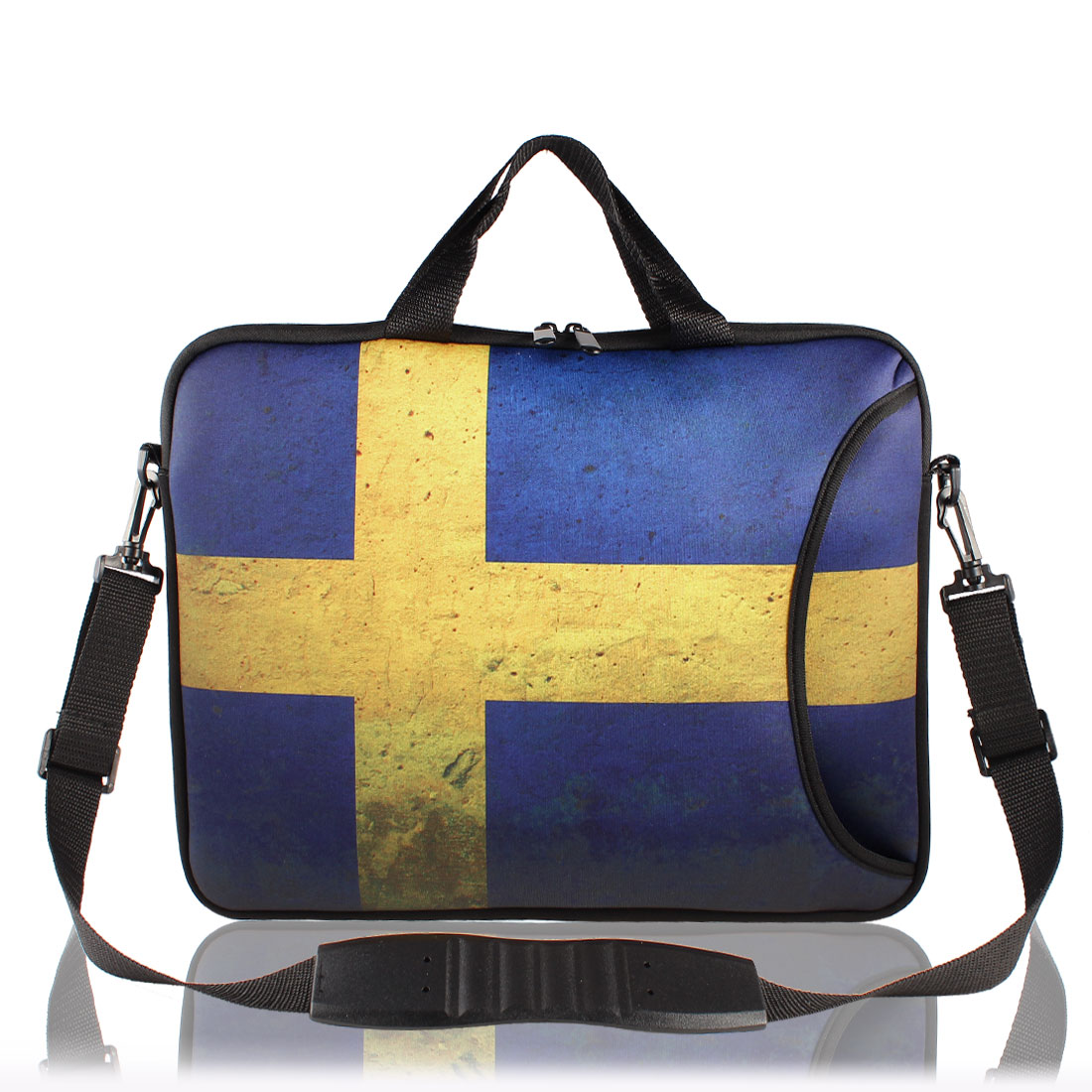 "17"" Sweden Flag Prints Messenger Shoulder Bag Sleeve Case Cover for PC Laptop"