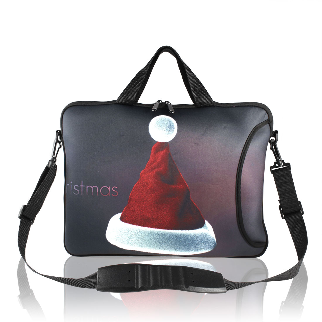 "17"" Christmas Hat Print Notebook Laptop Handle Shoulder Sleeve Bag"