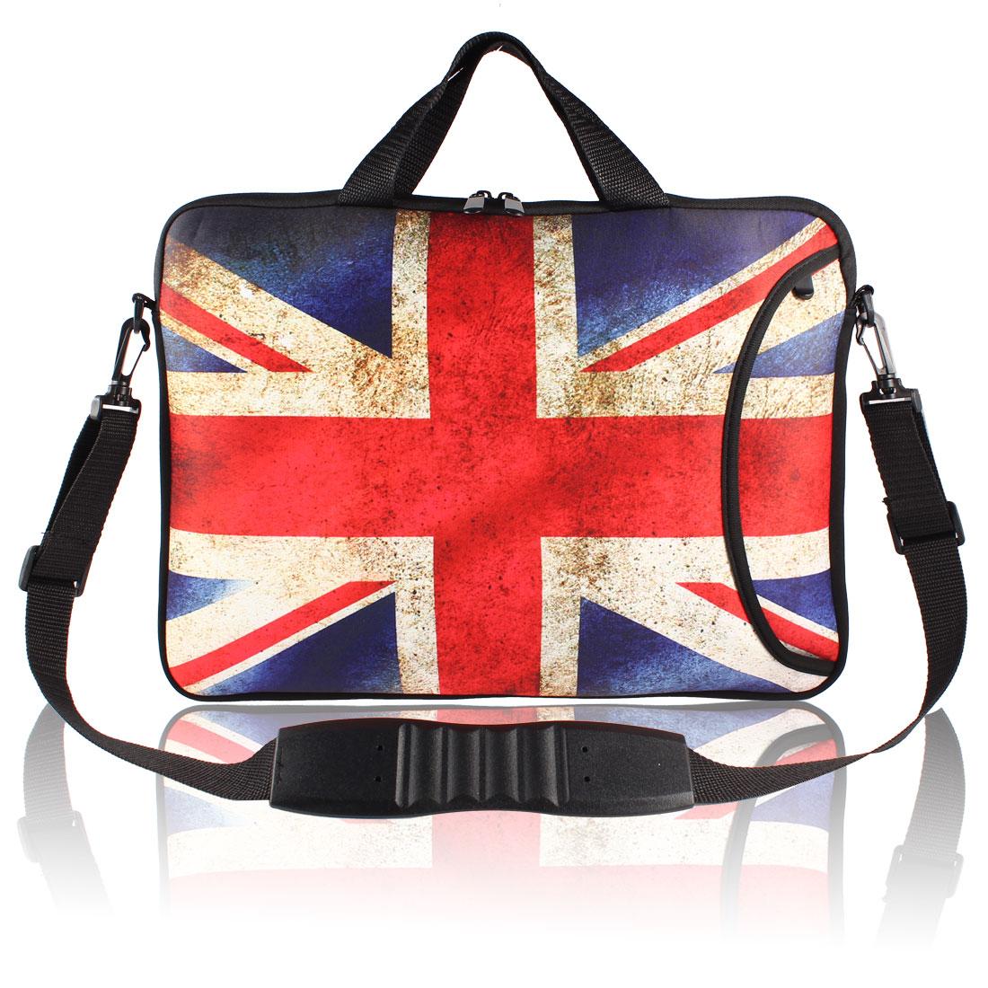 """17"""" 17.3"""" 17.4"""" Uk Flag Print Notebook Laptop Handle Shoulder Sleeve Bag Pouch"""