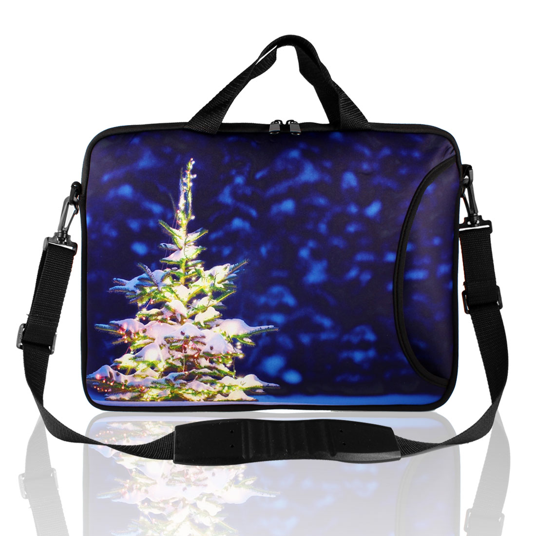 "17"" Royal Blue Christmas Tree Print Laptop Shoulder Bag Sleeve Case"