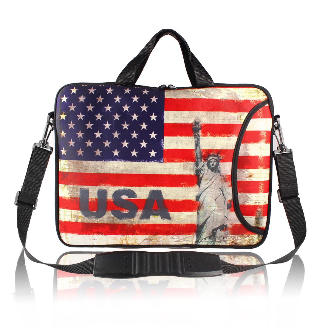 """17"""" USA Flag Prints Messenger Shoulder Bag Sleeve Case Cover for PC Laptop"""