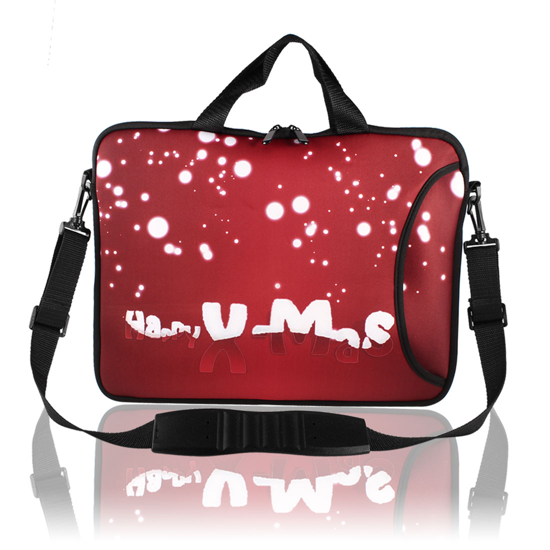 "Christmas White Dots Shoulder Bag Pouch Sleeve Case Cover Red for 17"" Laptop"