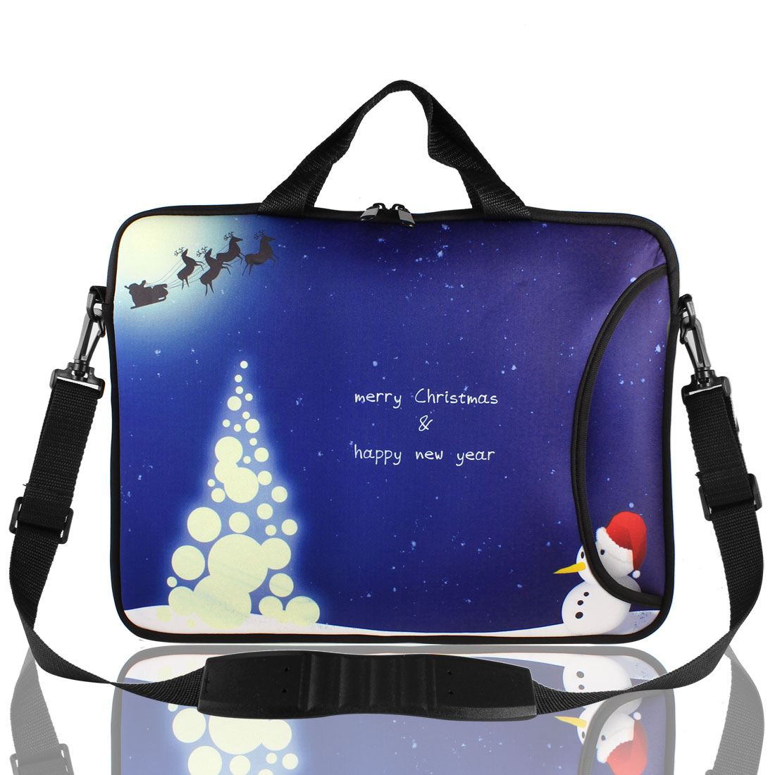 "17"" 17.3"" 17.4"" Christmas Snowman Print Laptop Sleeve Bag w Handle Shoulder Strap"