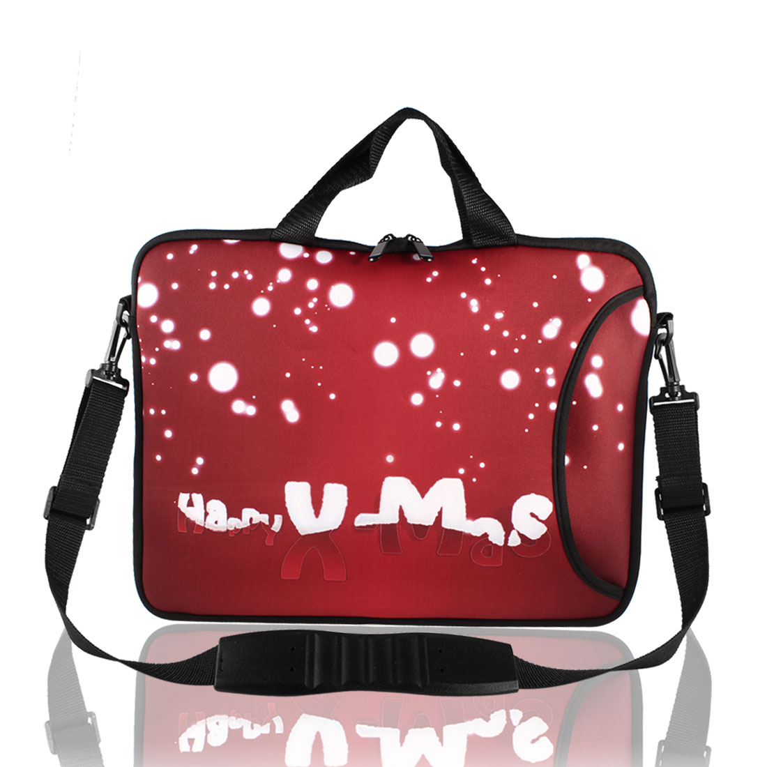 "Christmas White Dots Shoulder Bag Pouch Sleeve Case Cover Red for 15"" Laptop"