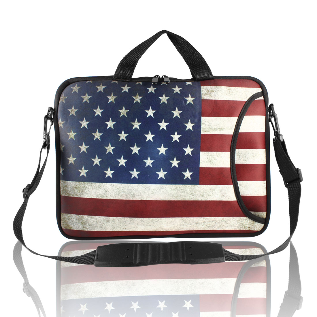 "Retro Style US Flag Pattern Shoulder Bag Pouch Sleeve Case Cover for 15"" Laptop"