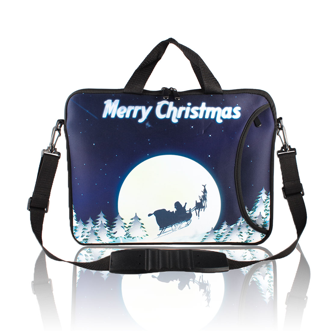 "Santa Carriage Pattern Shoulder Bag Pouch Sleeve Case Cover for 15"" 15.6"" Laptop"