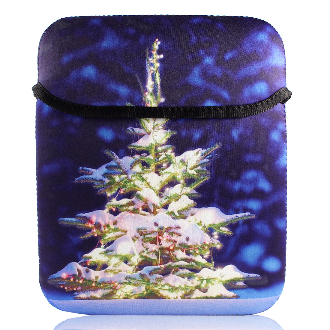 "10"" Royal Blue Christmas Tree Print Notebook Laptop Bag Sleeve Case Pouch"