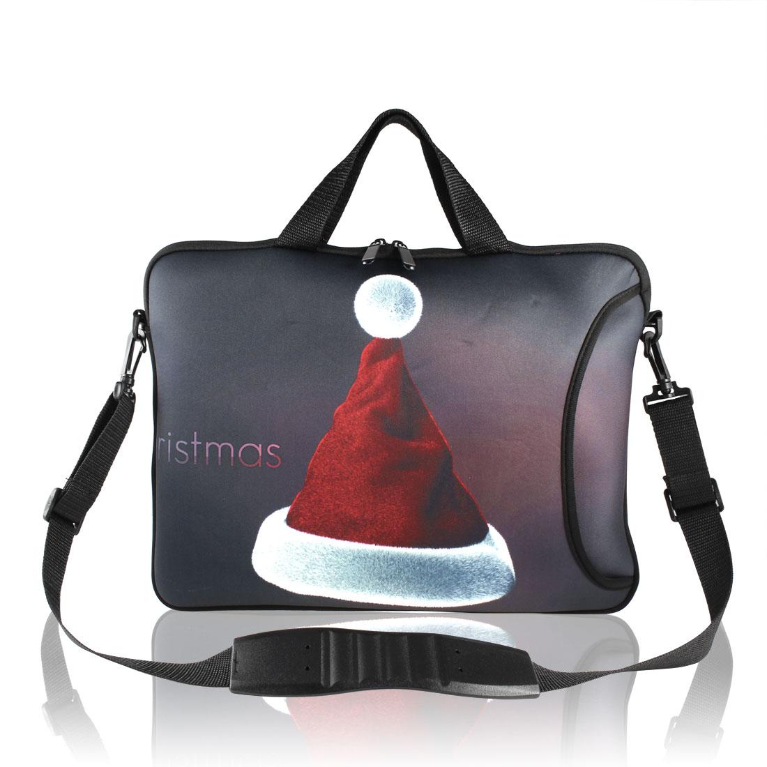 "15"" Christmas Hat Print Laptop Handle Shoulder Sleeve Bag Pouch"