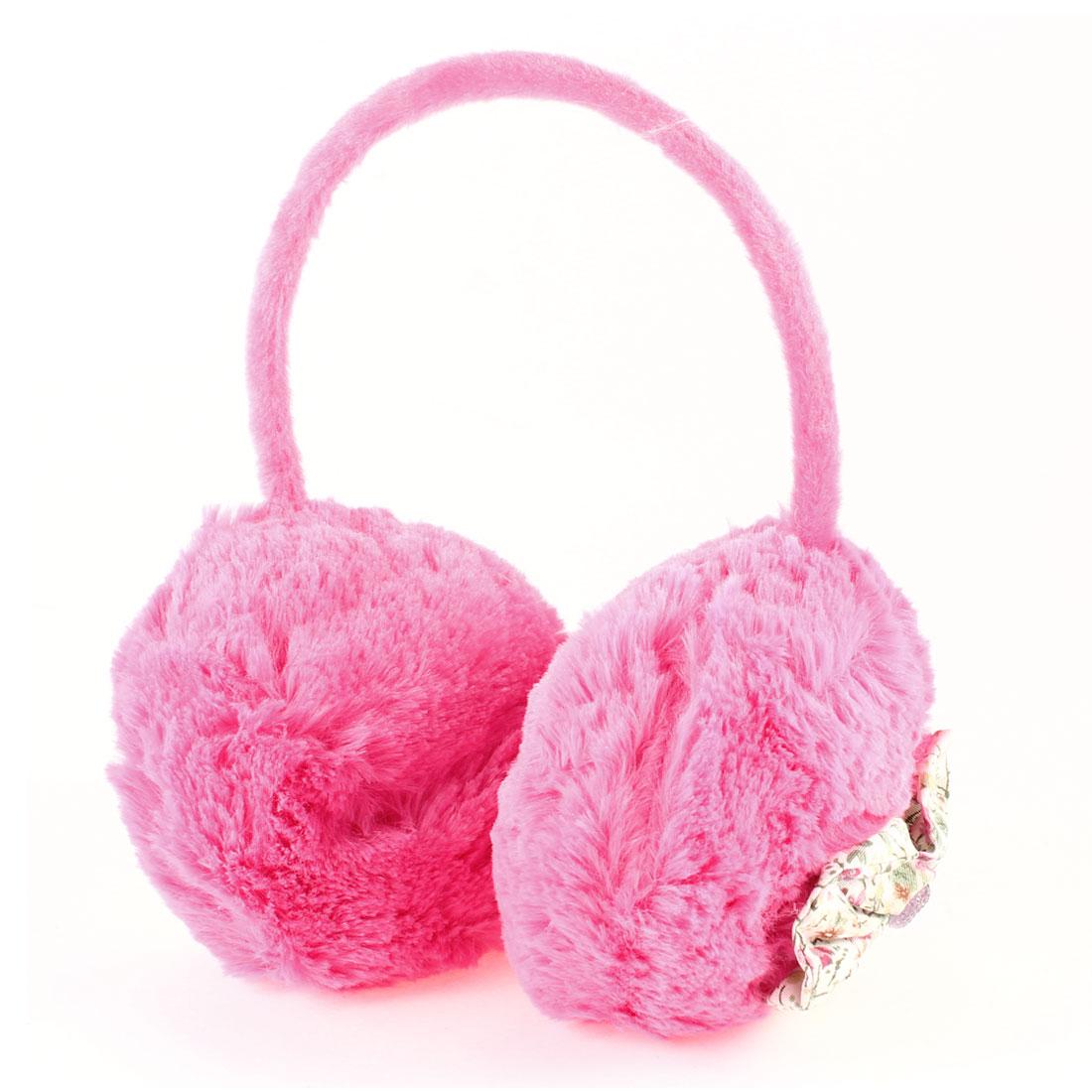 Girls Fuchsia Plush Bowtie Decor Ear Warmer Winter Earmuffs