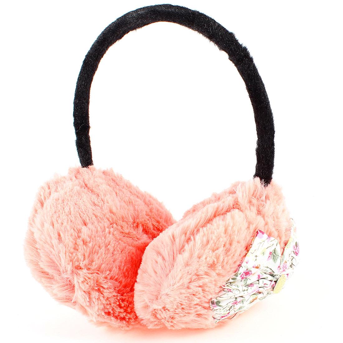 Girls Black Plastic Frame Pale Apricot Plush Ear Warmer Winter Earmuffs