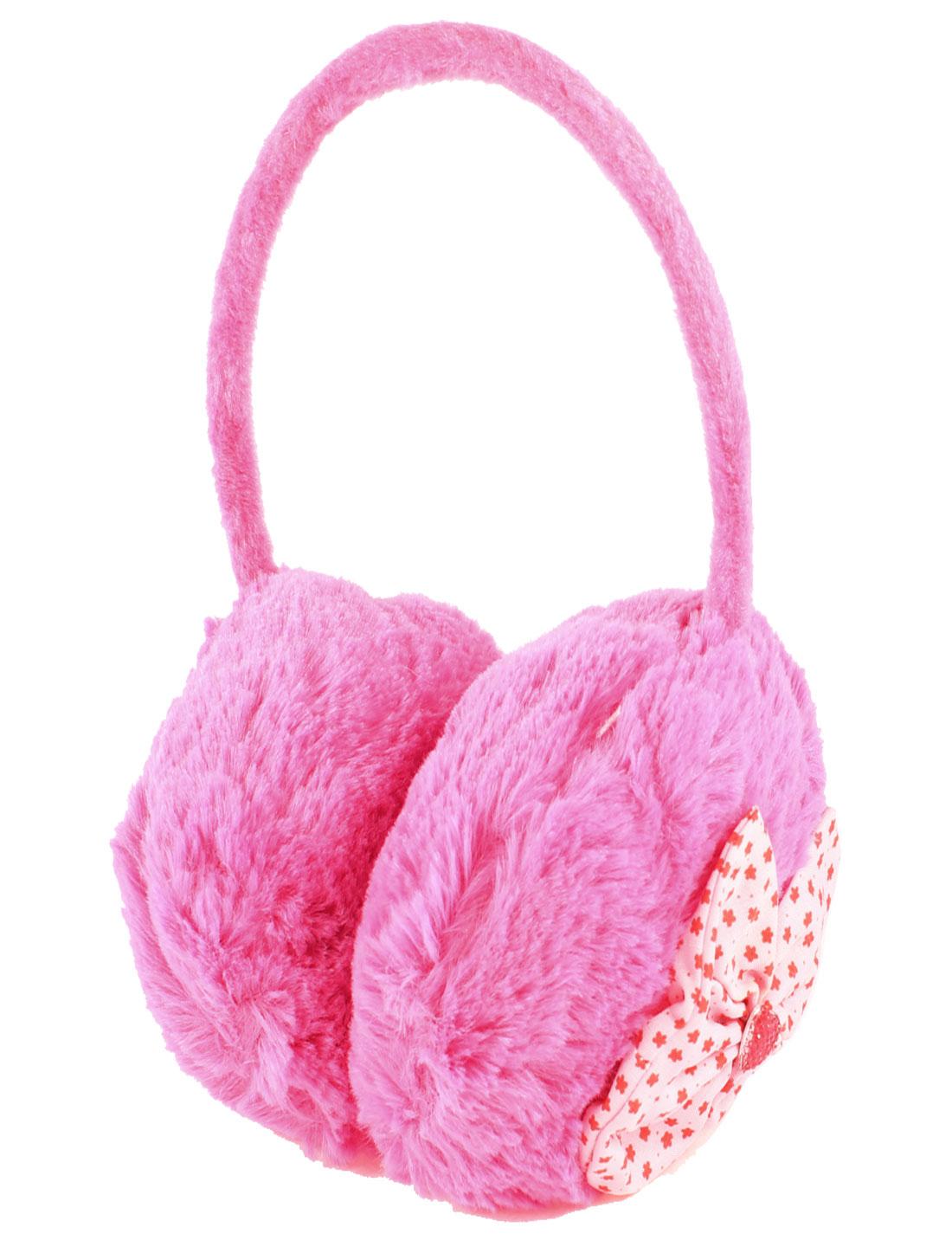 Girls Plastic Frame Hot Pink Plush Ear Warmer Winter Earmuffs