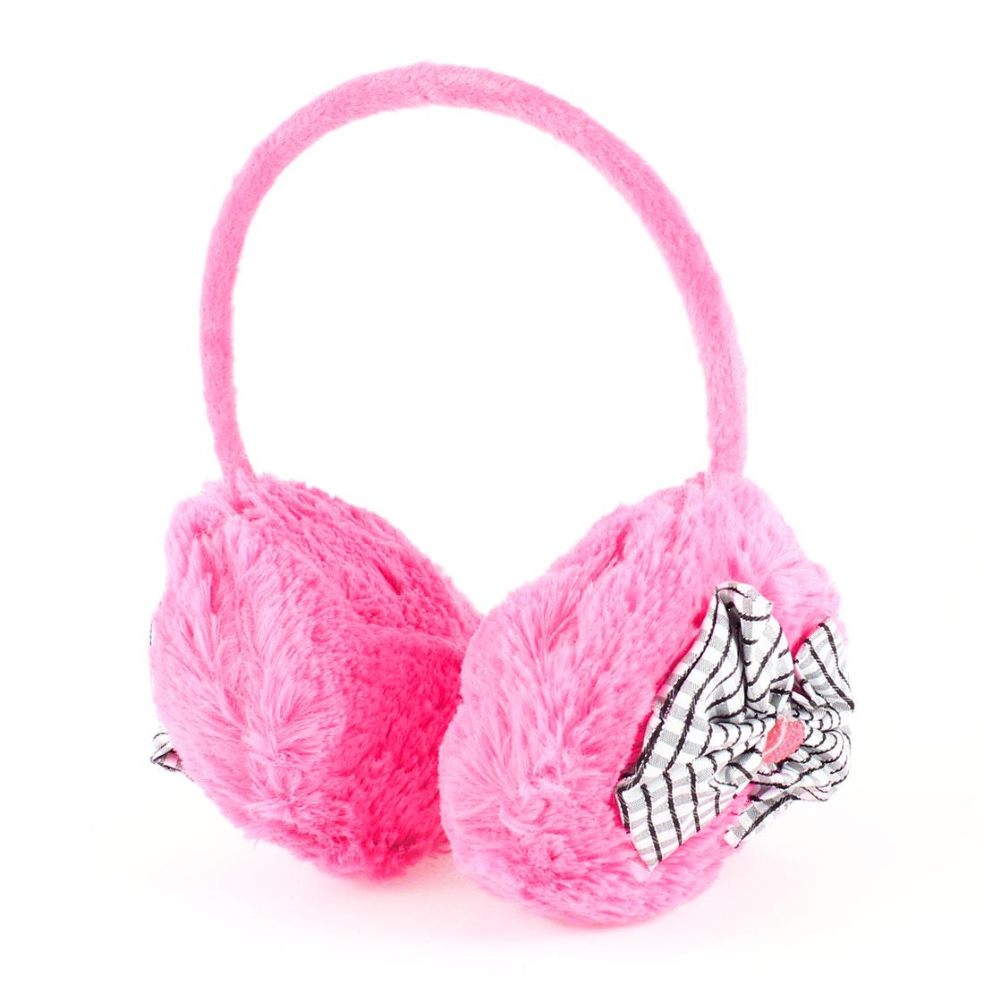 Plastic Frame Fuchsia Plush Ear Warmer Winter Earmuffs for Girl