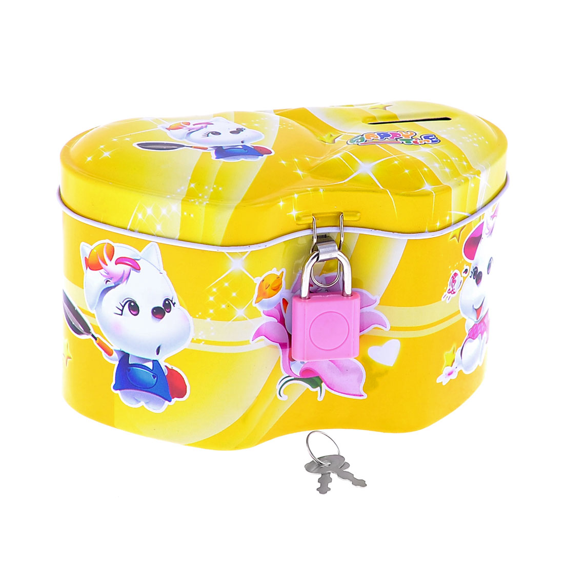 Cartoon Cat Print Heart Link Heart Design Yellow Money Piggy Bank Box
