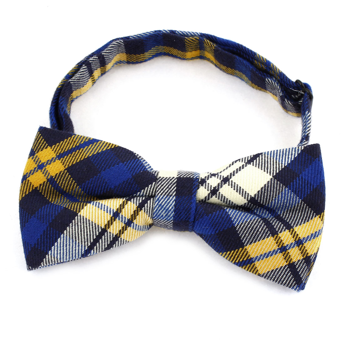 Men Check Pattern Pre-tied Style Polyester Neckwear Bowtie Bow Tie Yellow Blue