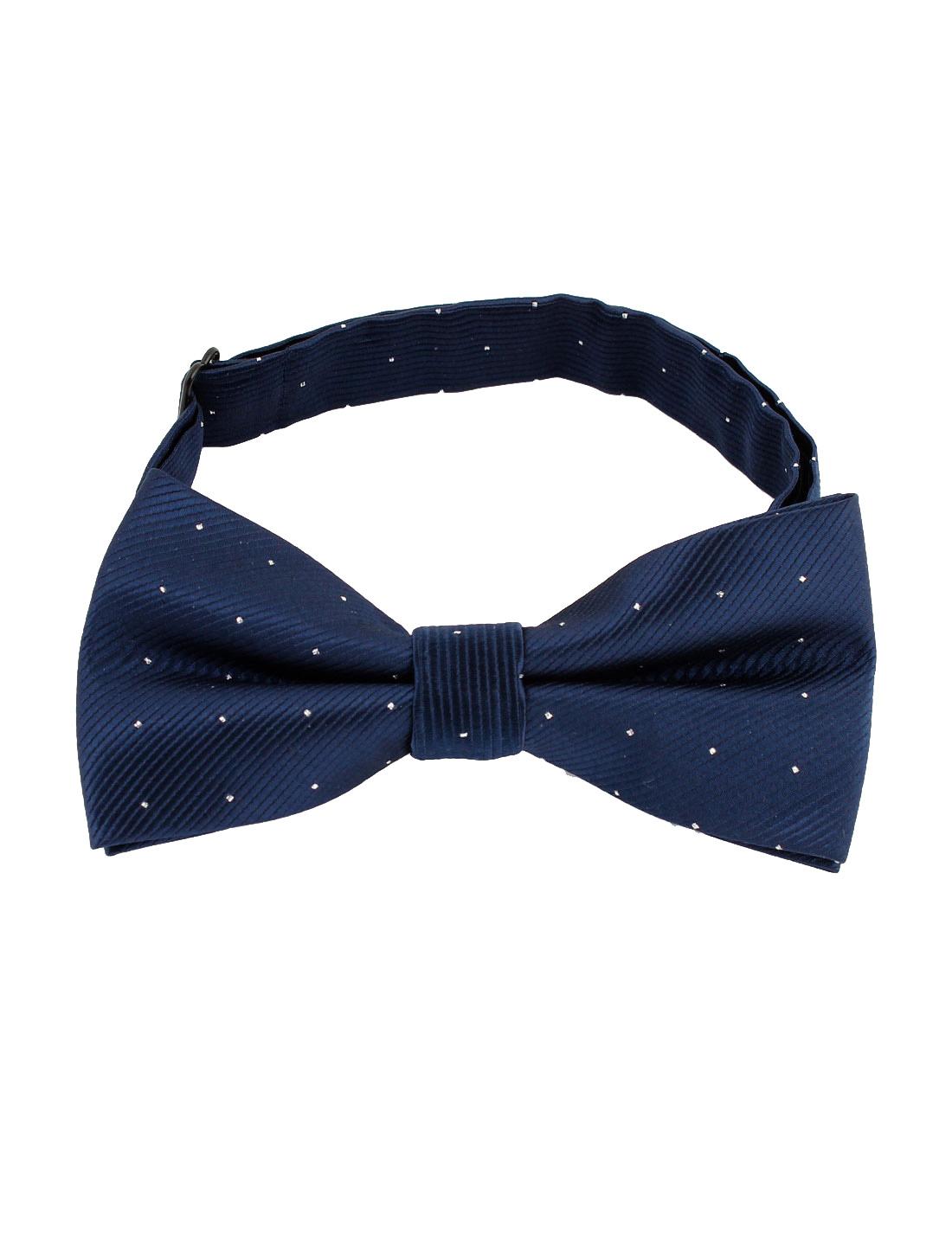 Men Boys Glitter Dots Pattern Adjustable Strap Bow Tie Dark Blue
