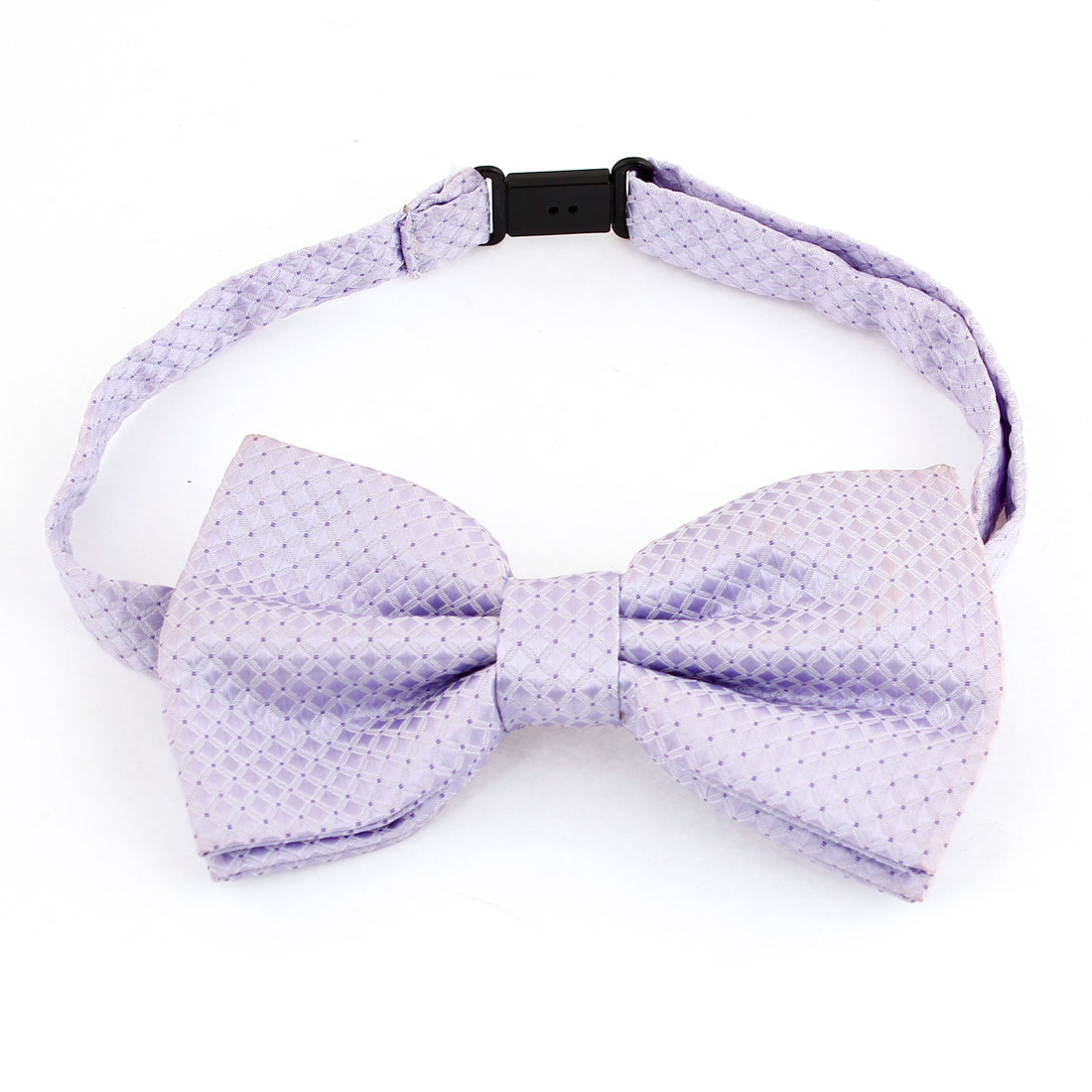 Men Check Printed Pre-tied Design Texture Necktie Bow Tie Light Purple