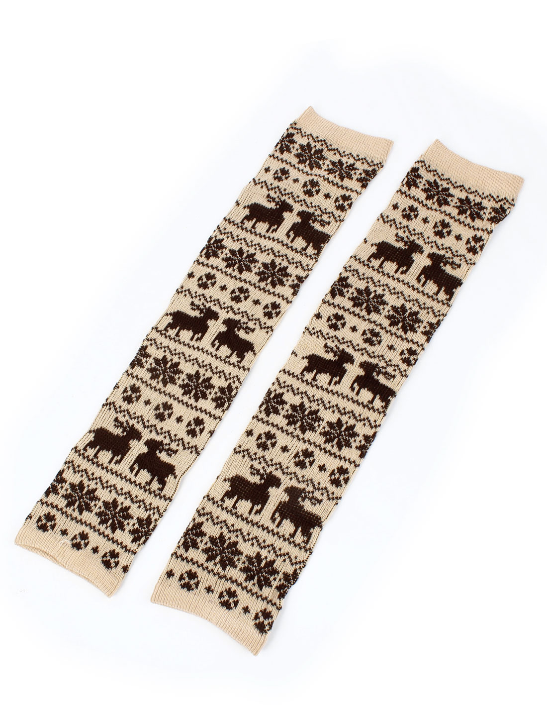 Nordic Printed Knee High Toeless Legging Warmers Beige Brown Pair for Ladies