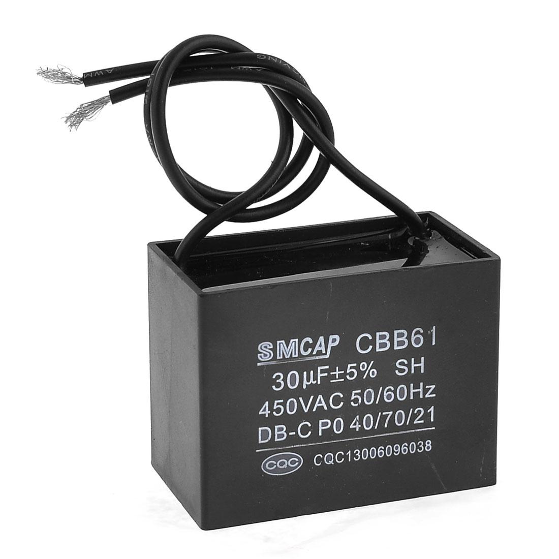 Non Polar Wired 50/60Hz CBB61 Type Motor Running Capacitor 30uF AC 450V