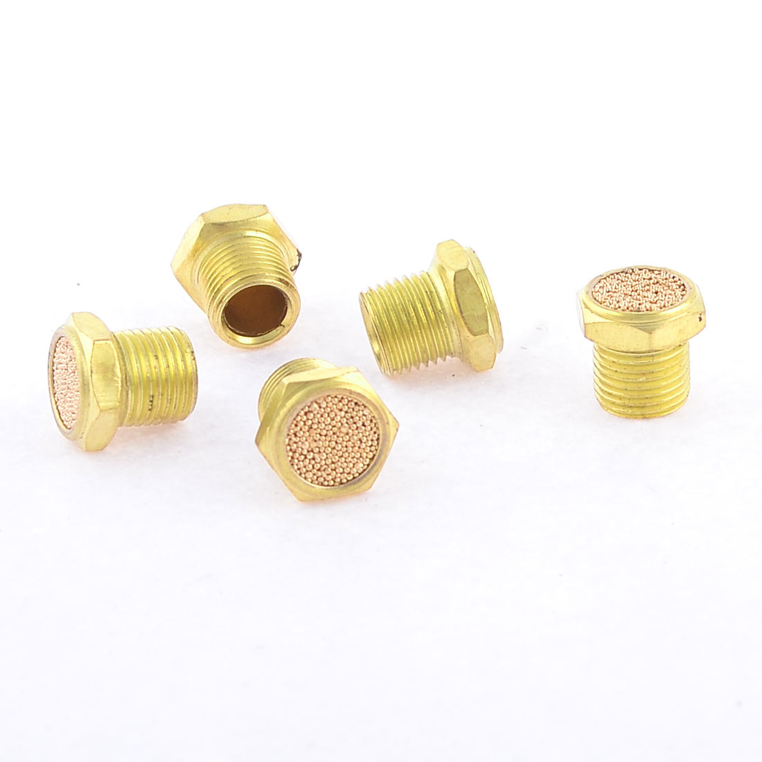 "5pcs 1/8"" PT Male Thread Sintered Bronze Pneumatic Exhaust Silencer Muffler"