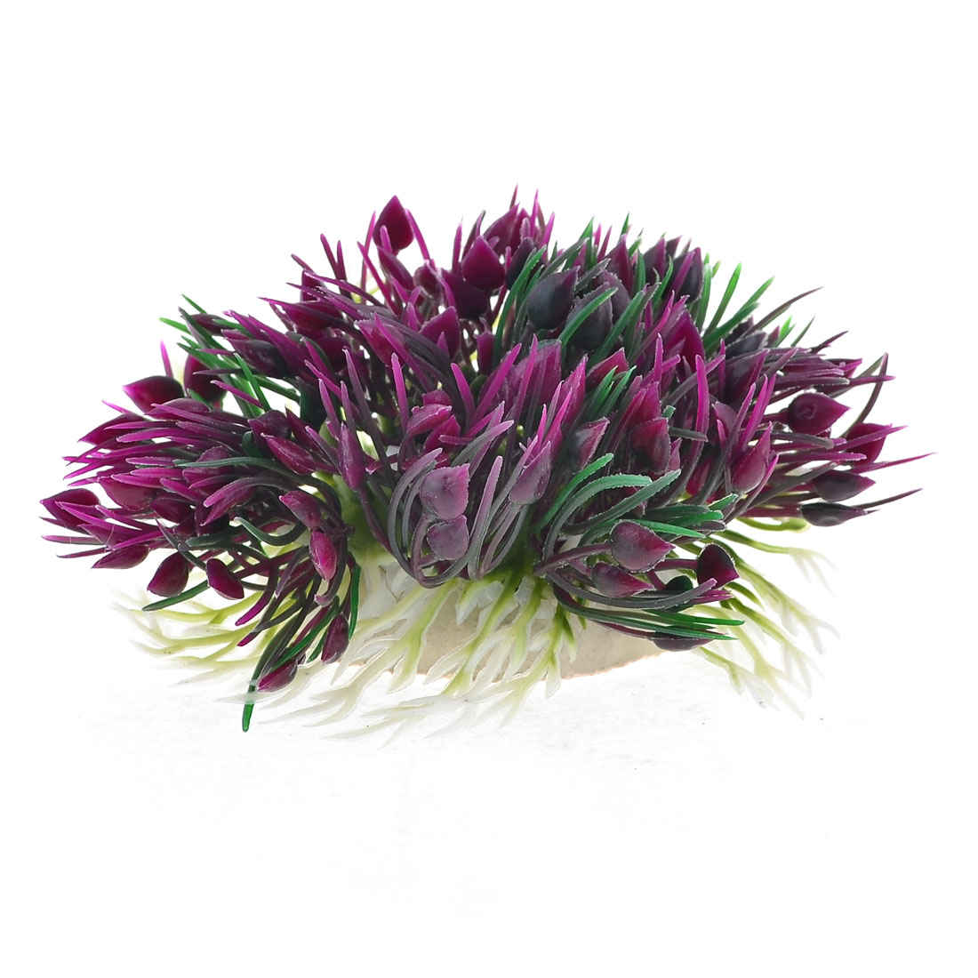 3cm Height Aquarium Artificial Dark Purple Plastic Grass Decor w Ceramic Base