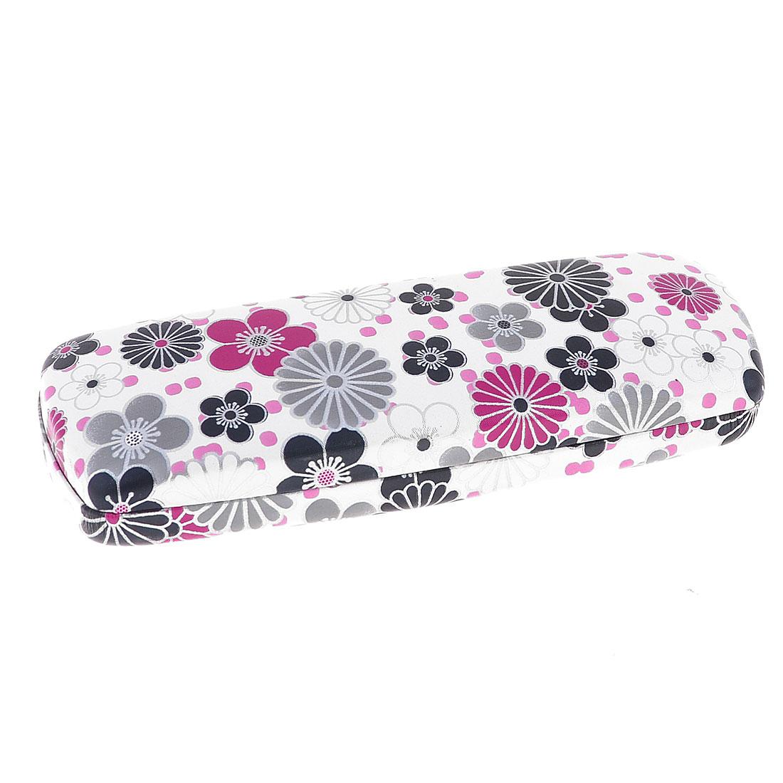 Black Gray Flowers Pattern Rectangle Shape White Case Box Holder for Eyeglasses