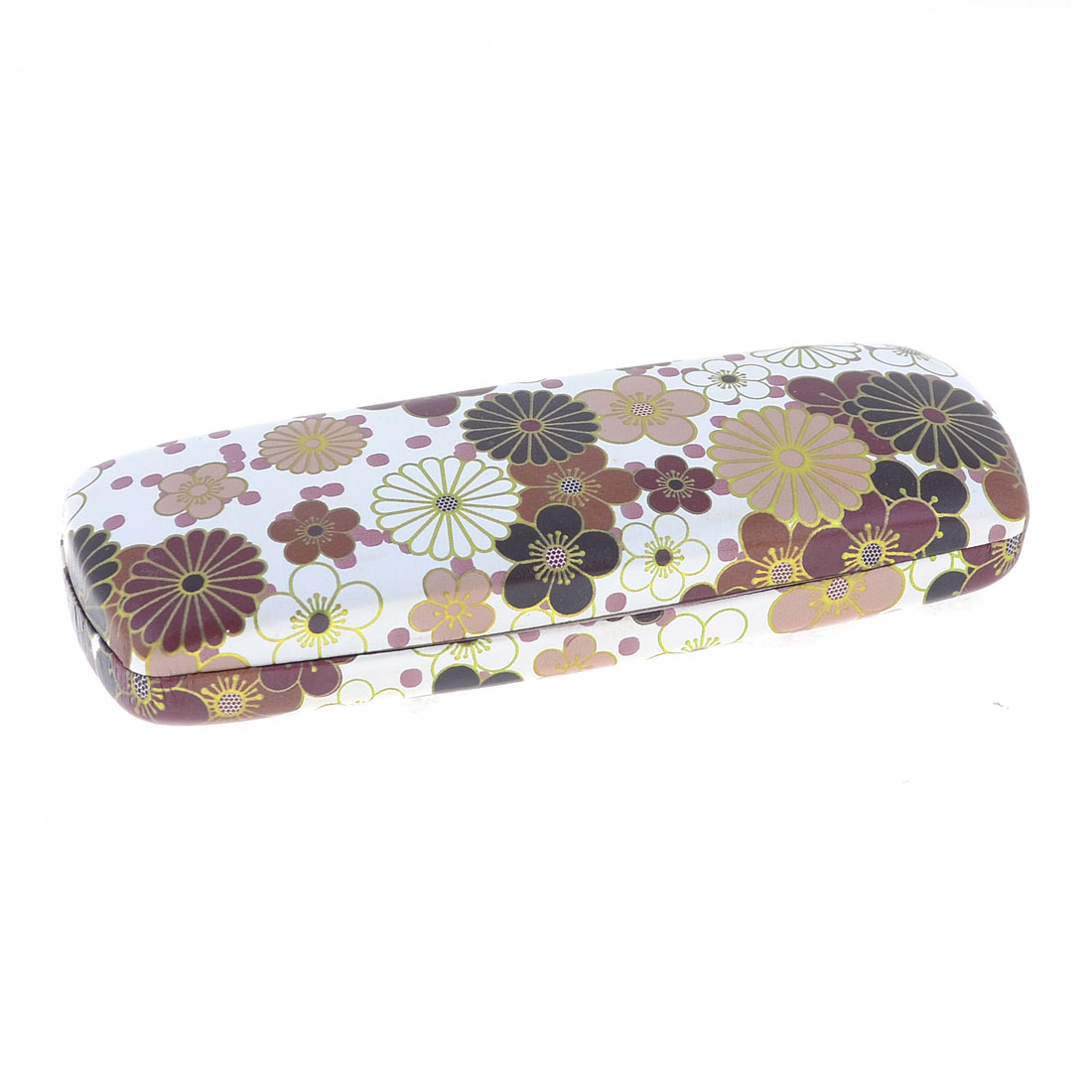 "6.1"" Length Brown Flowers Print White Faux Leather Eyeglasses Case Container"
