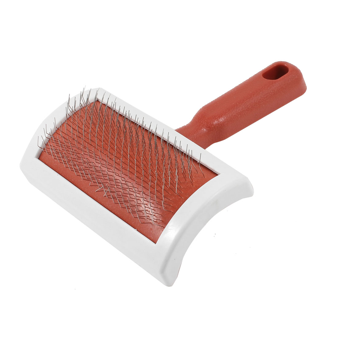 Plastic Grip Metal Wire Cat Dog Hair Brush Comb Pet Grooming Tool Red White