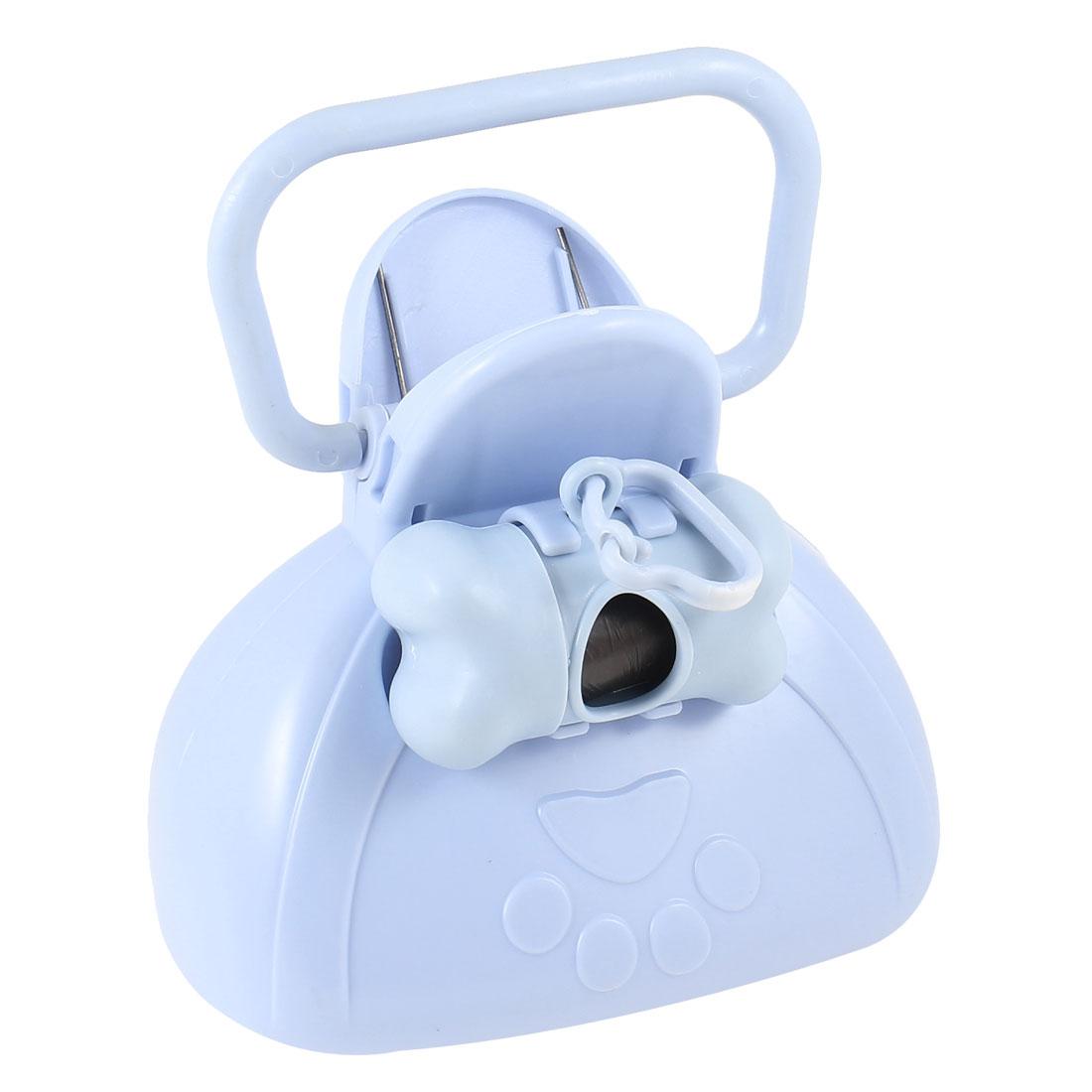 2 in 1 Protable Pet Dog Cat Light Blue Pooper Scooper Tool w Dispenser Box