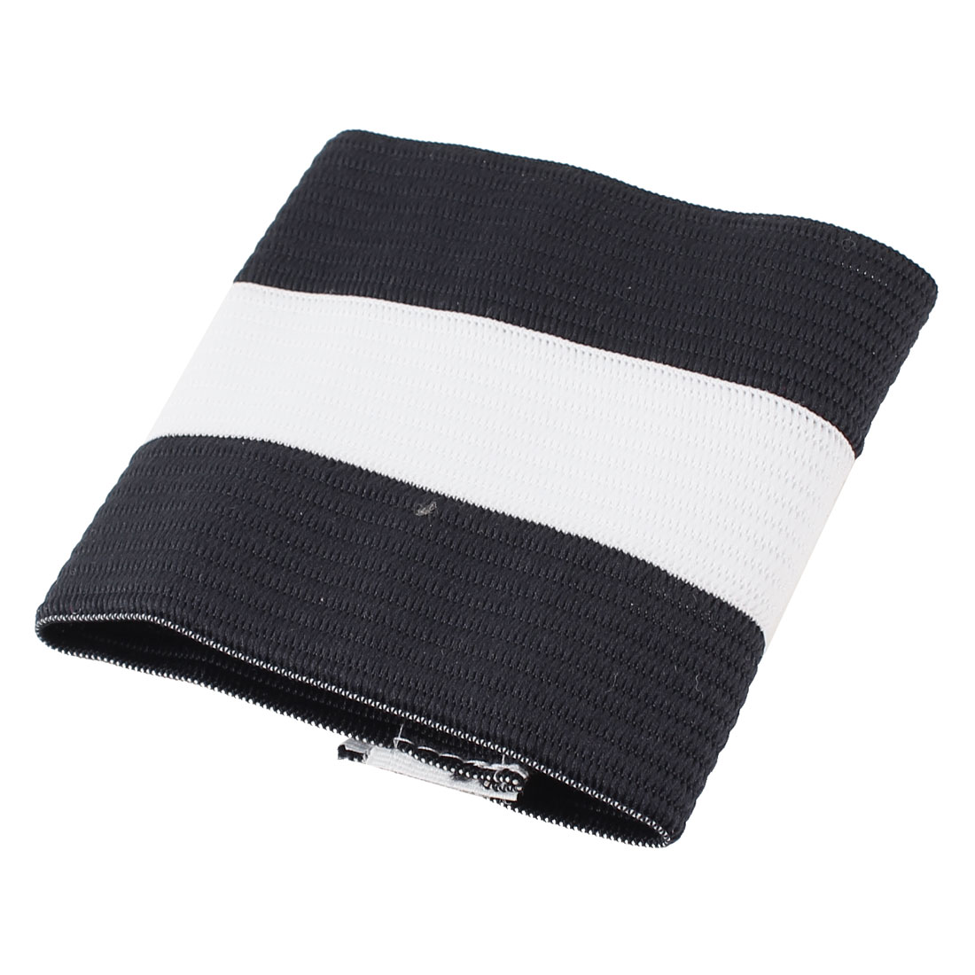 Outdoor White Black Striped Pattern Elastic Band Team Game Soccer Armband