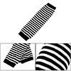 Girls White Black Stripe Print Stretchy Fingerless Arm Warmers Long Gloves Pair