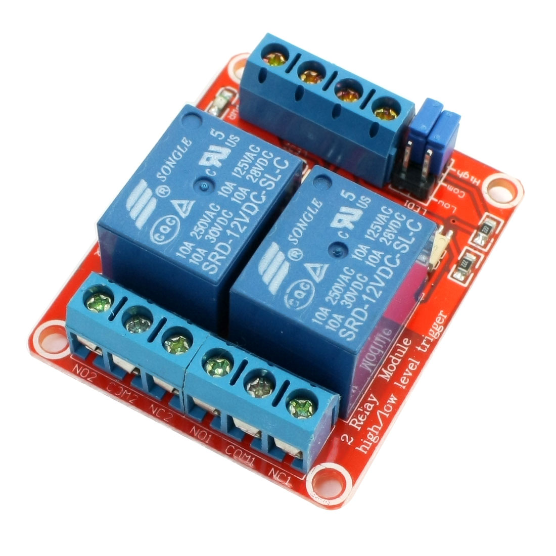 DIY MCU 2-Channel Optocoupler Shielded High Low Level Trigger Relay Module 12VDC
