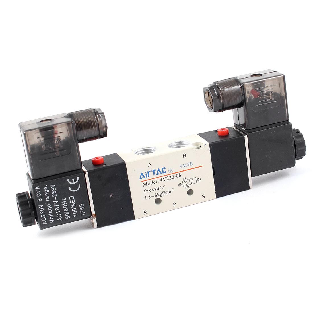 4V220-08 5 Ports 2 Positions Electromagnetic Air Solenoid Valve AC220V 6VA