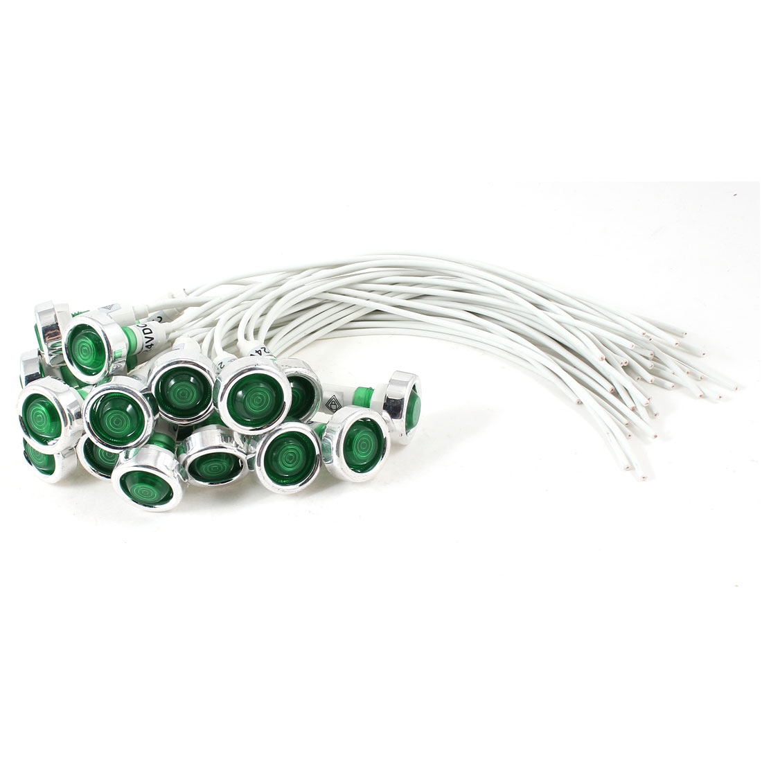 20 Pcs White Cable Green Indicator Pilot Light Lamp DC 24V