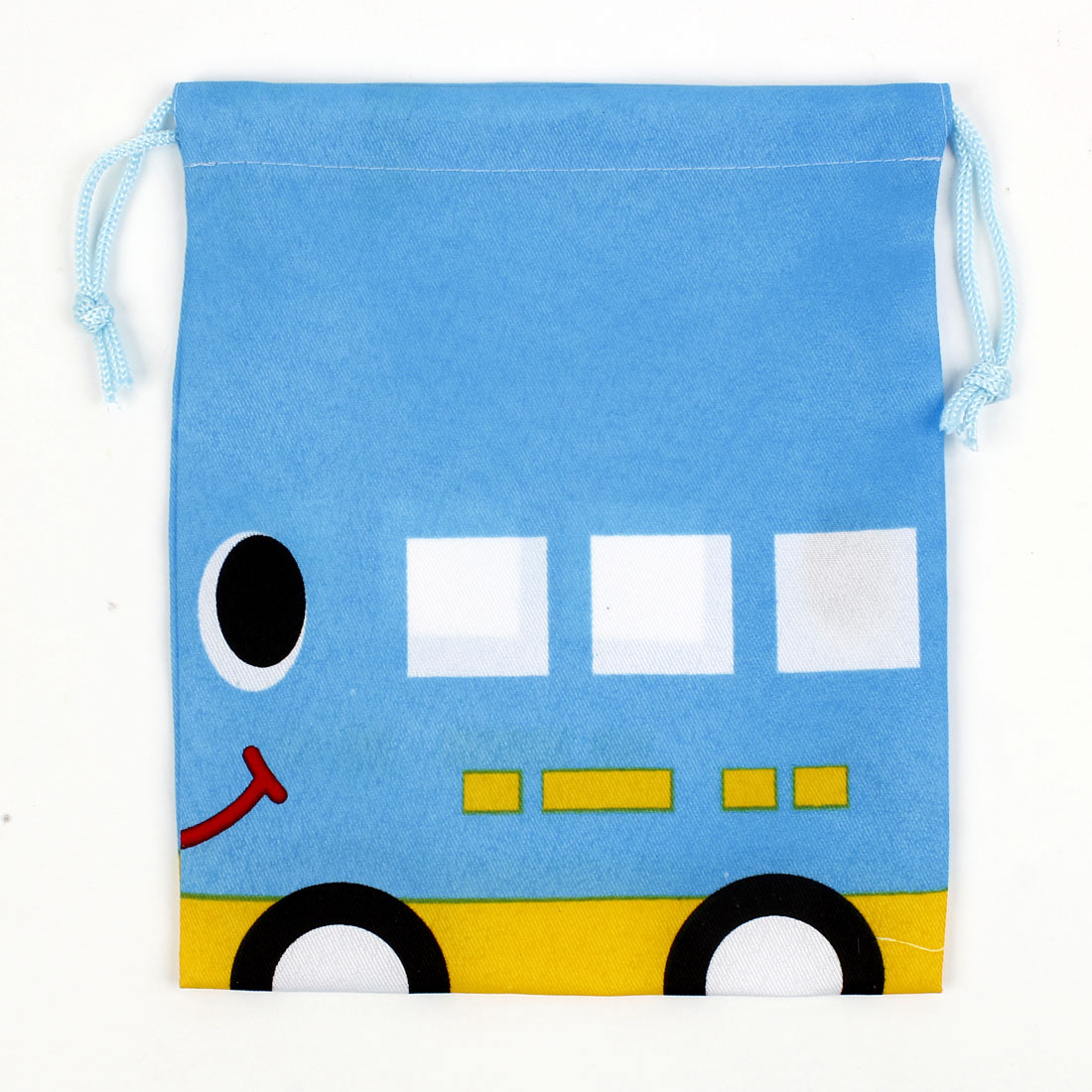 "Blue Yellow Cartoon Bus Print Drawstring Jewelry Box Pouch Case 9""x7.5"""