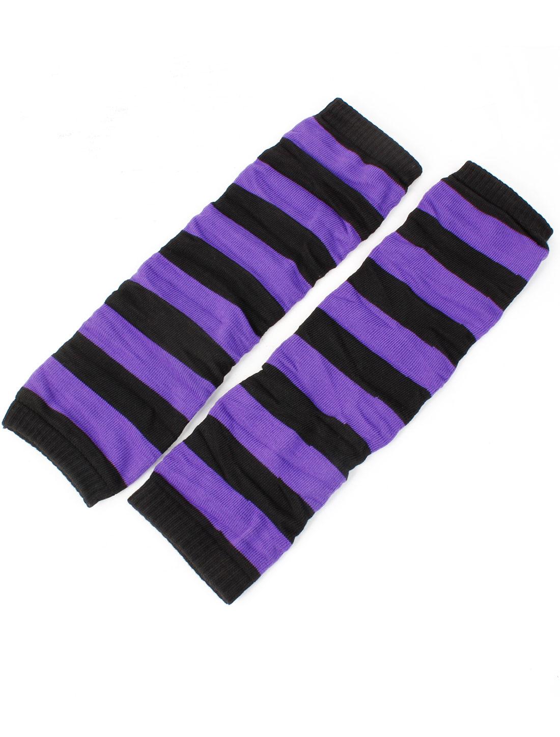 Ladies Purple Black Stripe Print Toeless Elastic Winter Leg Warmer Socks Pair