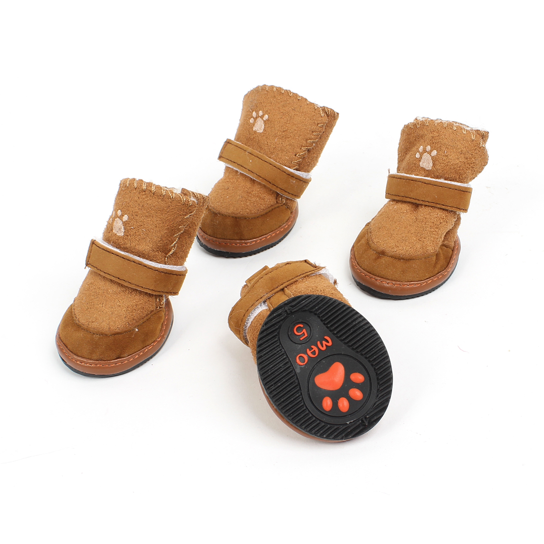 2 Pairs Brown Paw Printed Hook Loop Fastener Nonskid Sole Pet Dog Shoes Size S