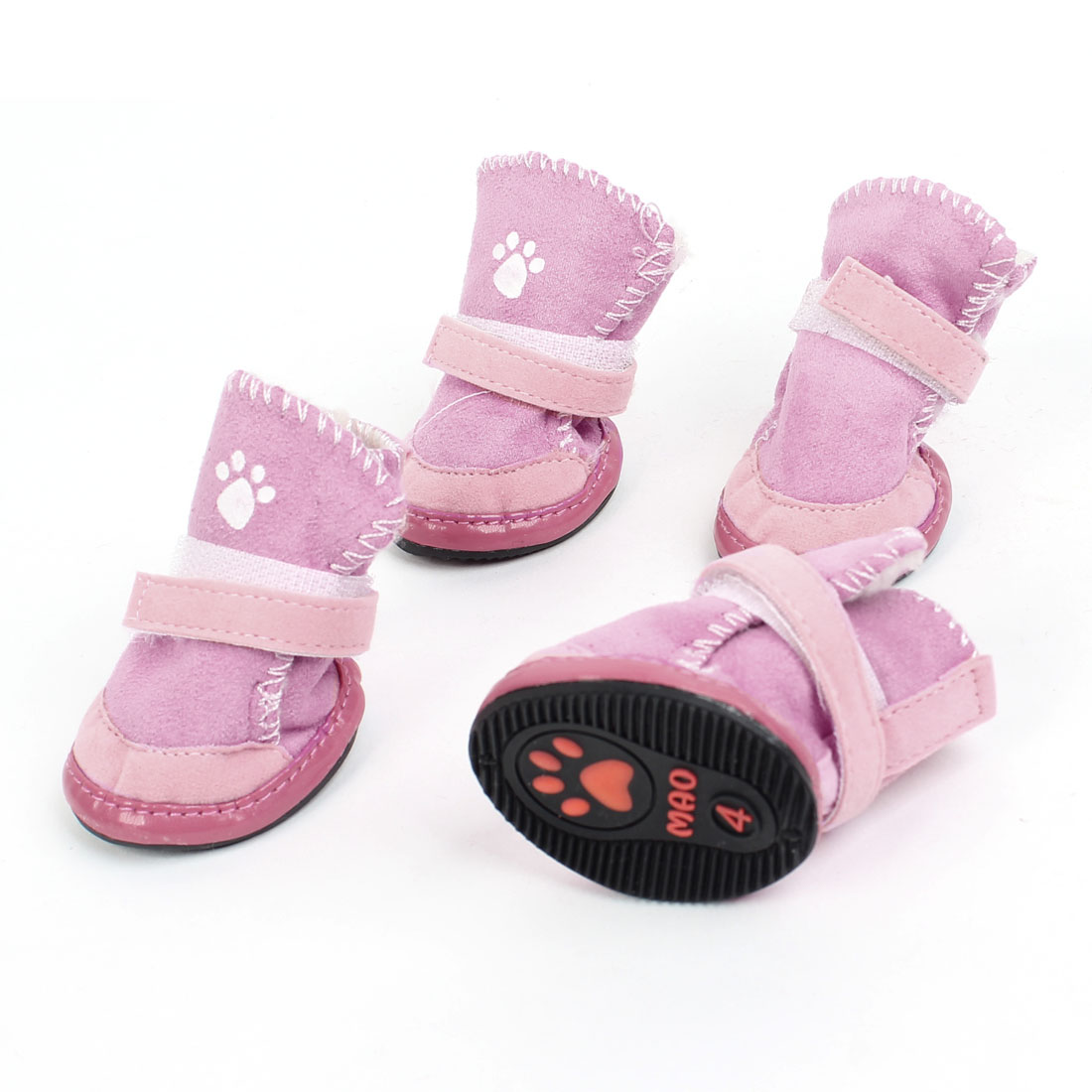 2 Pairs Pink Hook Loop Fastener Paw Printed Pet Dog Yorkie Shoes Booties Boots XS