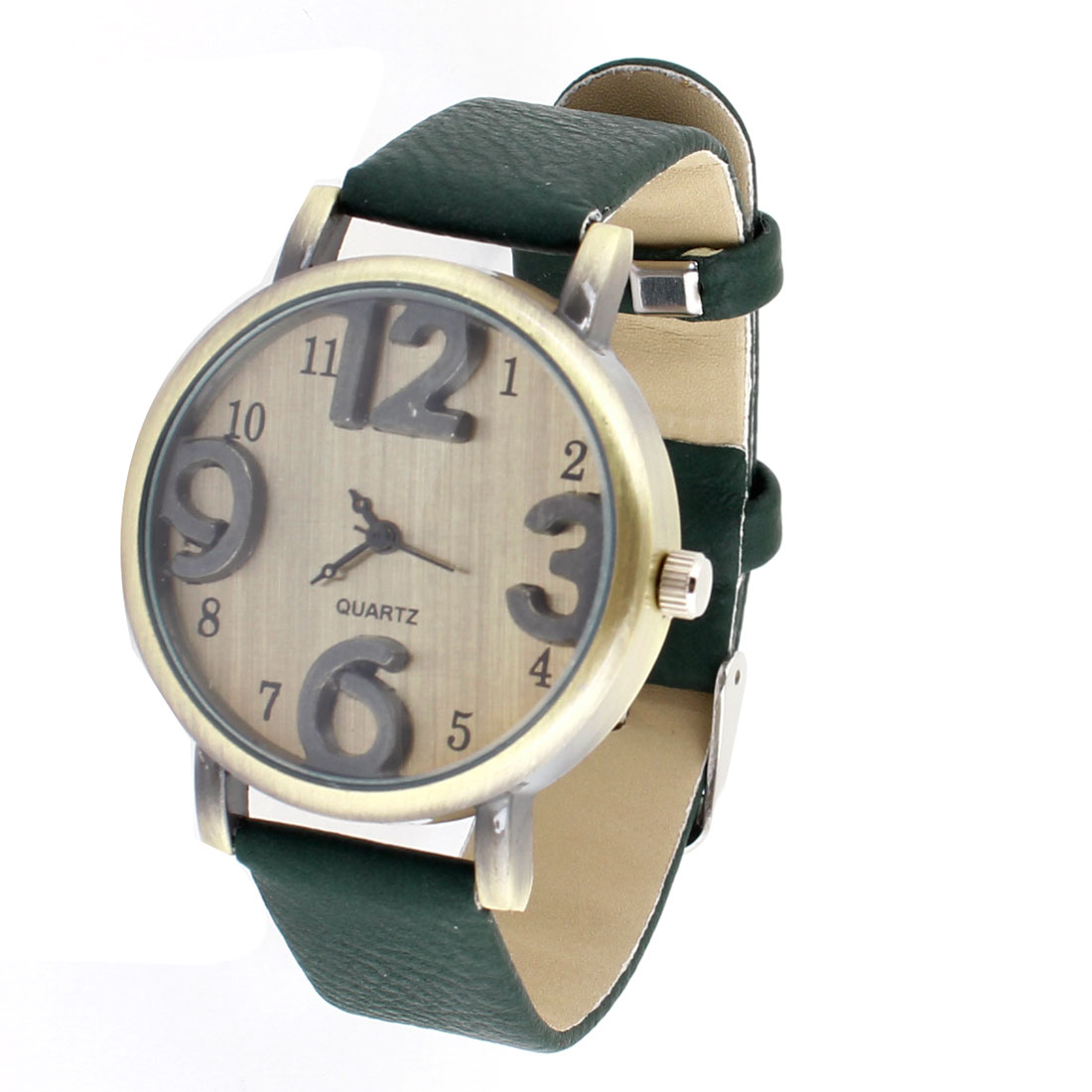 Men Army Green Faux Leather Band Arabic Number Dial Adjustable Quartz Wrist Watch