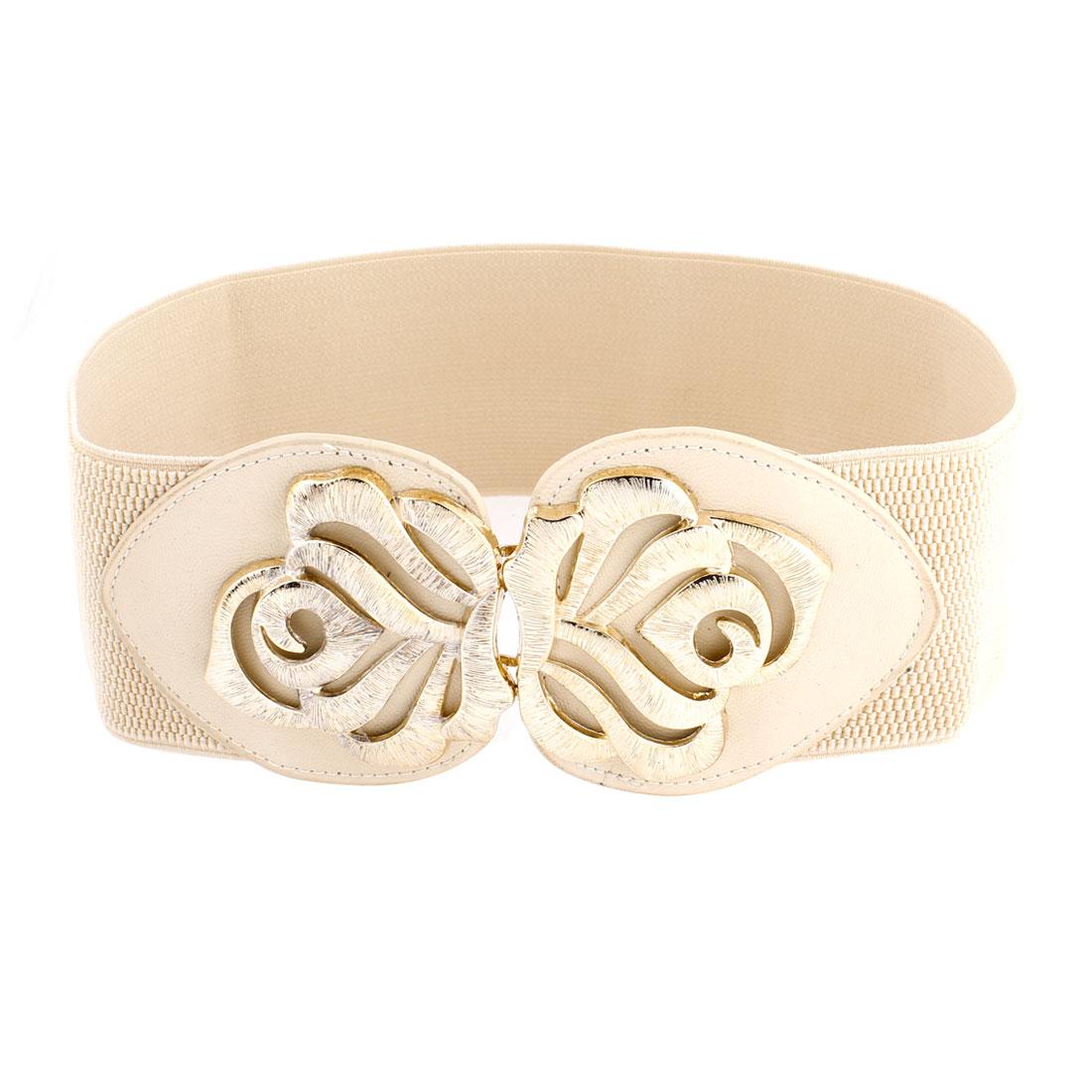 Ladies Gold Tone Flower Decor Interlocking Buckle Elastic Waist Belt Beige