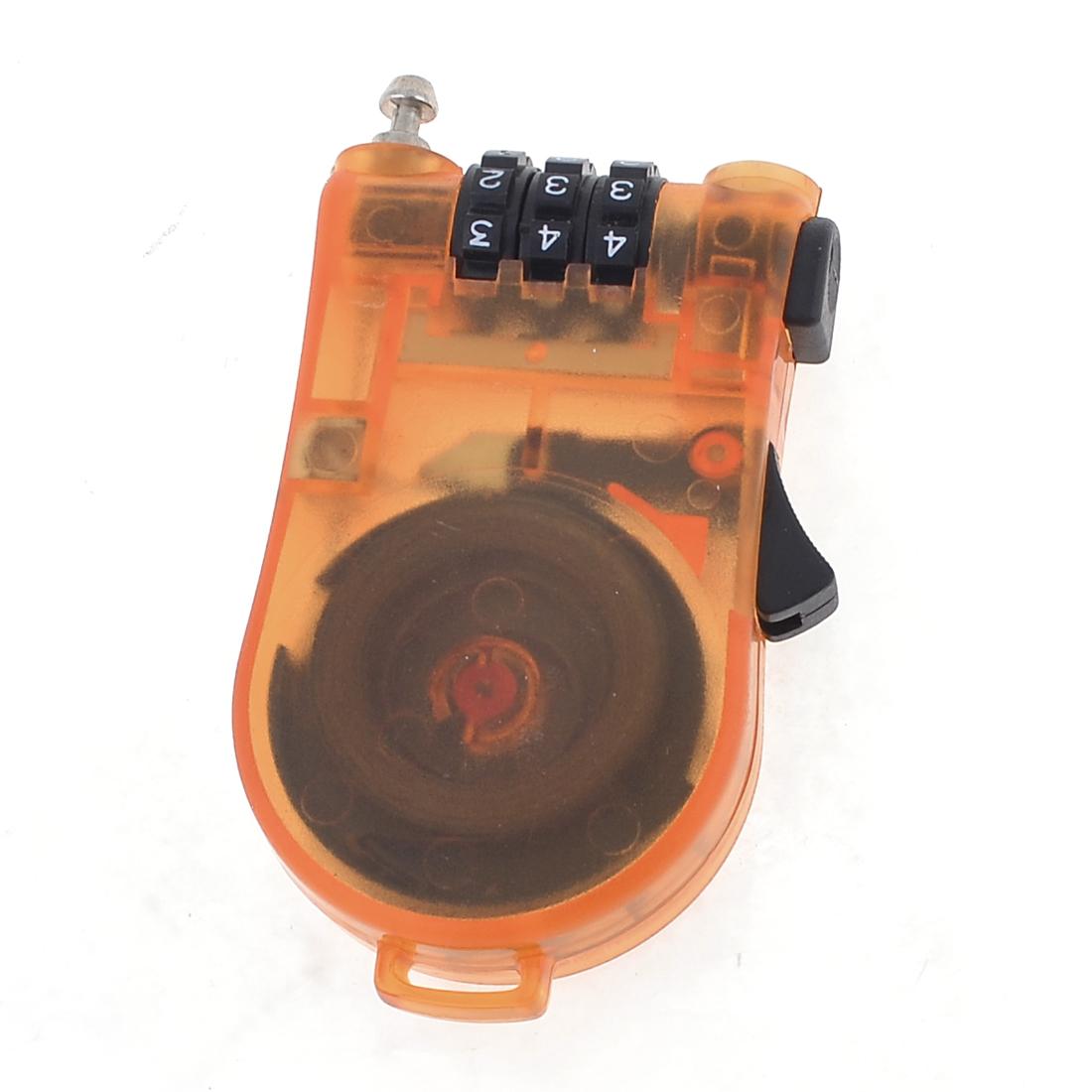 Orange 3 Digits 0-9 Number Resettable Luggage Coded Lock Padlock