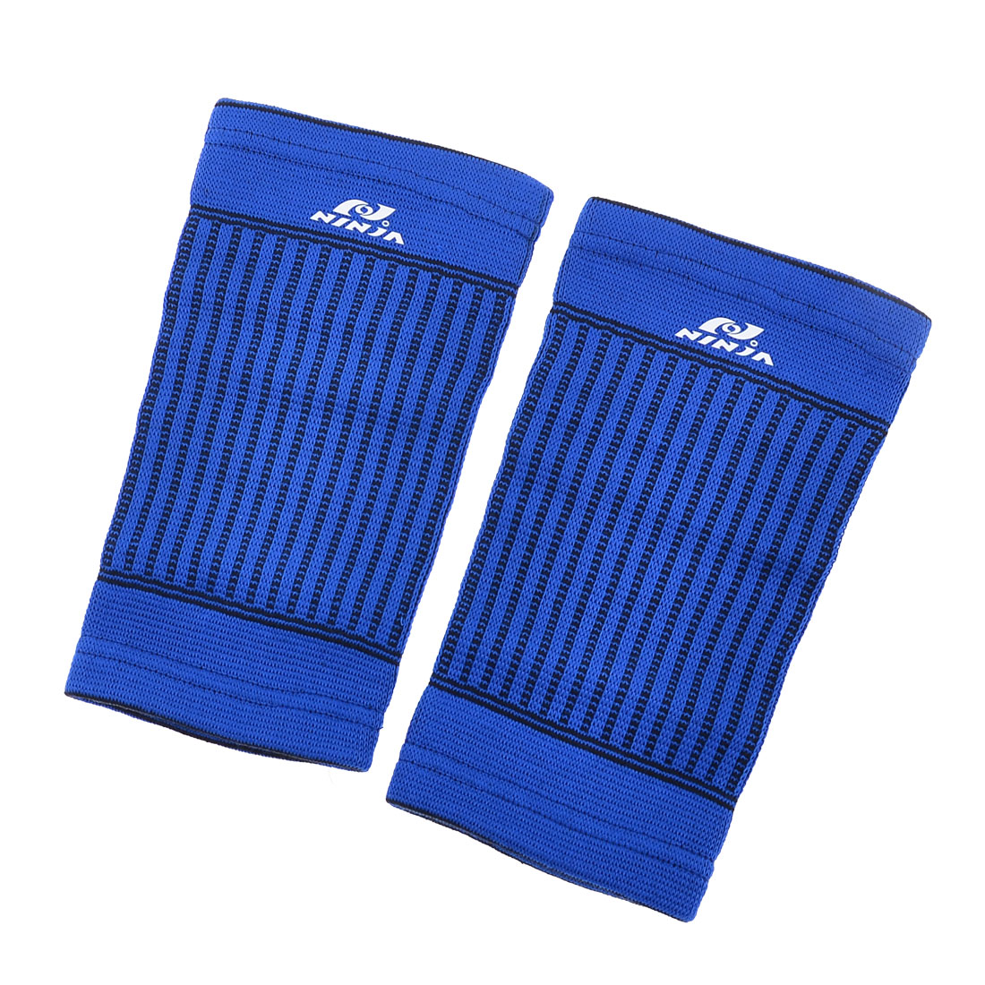 Pair Athletic Blue Black Stretchy Shin Calf Support Sleeve for Man
