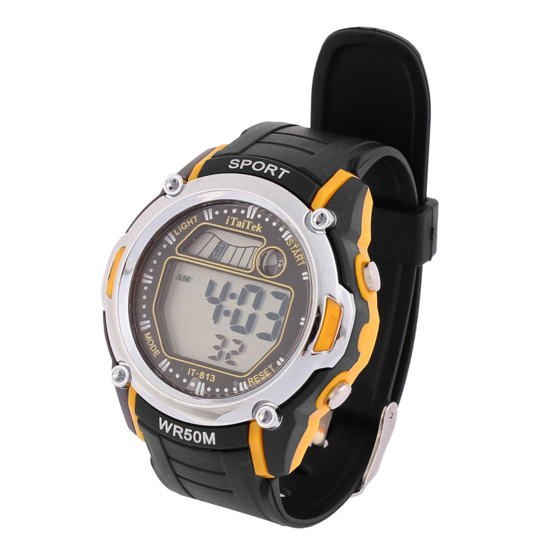 Man Round Dial Alarm Stopwatch Sports Wrist Watch Black Orange
