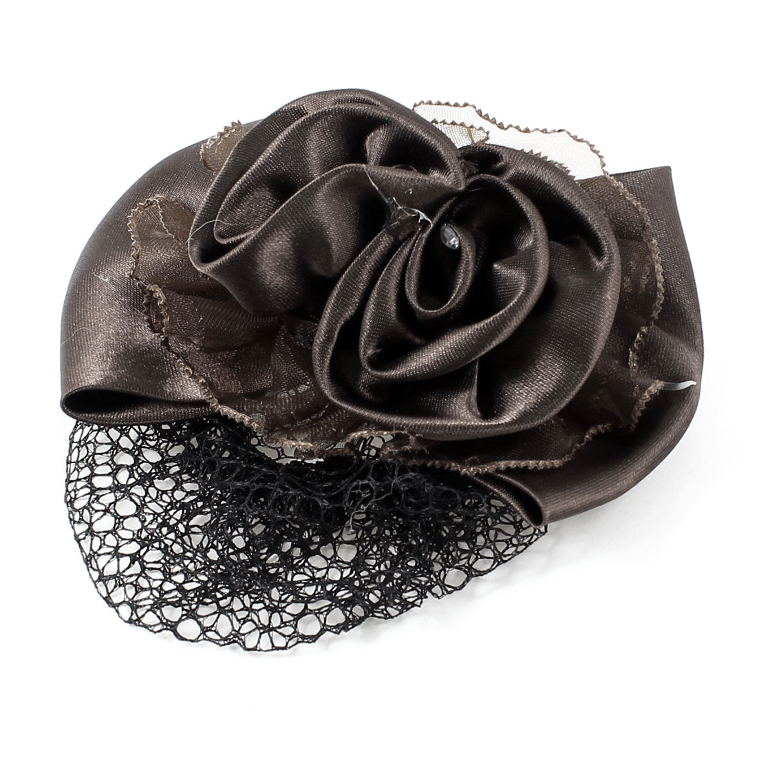 Bowknot Decor Snood Net Barrette French Hair Clip Bun Cover Dark Brown for Women