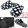 Man Hearts Pattern Fleece Inner Indoor Black White Slippers US 8