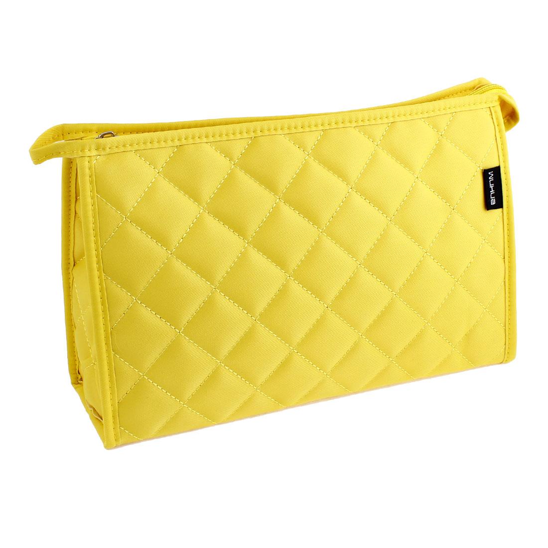 Nylon Lozenge Pattern Zip Up Mirror Pocket Makeup Cosmetics Bag Case Yellow