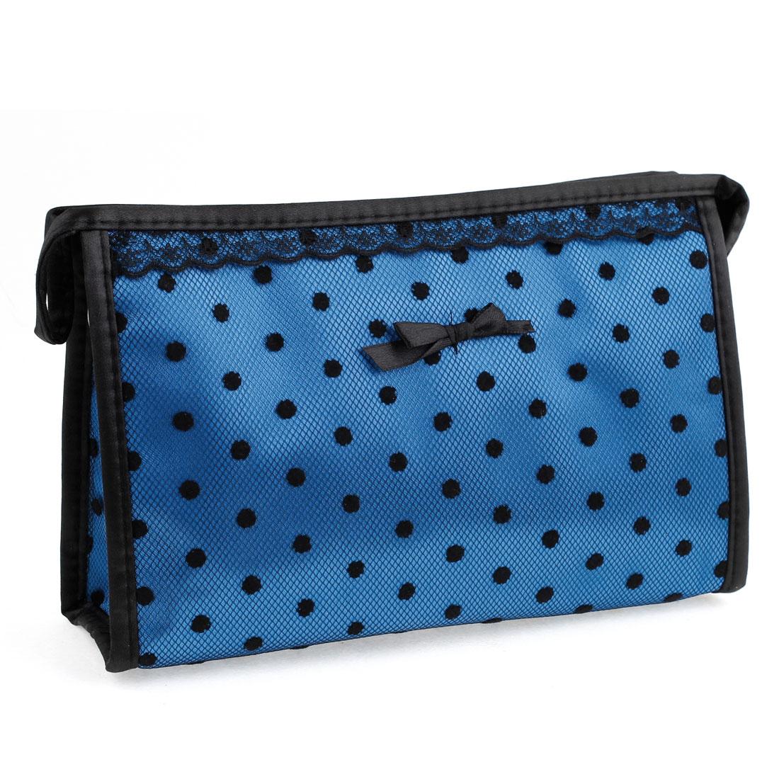 Lace Brim Meshy Dots Print Zippered Cosmetics Bag Brush Makeup Organizer Blue