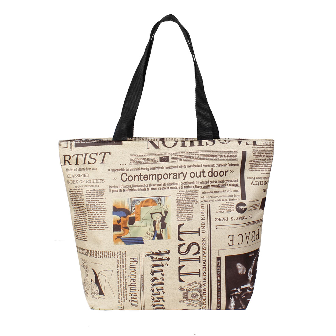 Travel Black Khaki Newspaper Print Reusable Zippered Shopping Totes Bag