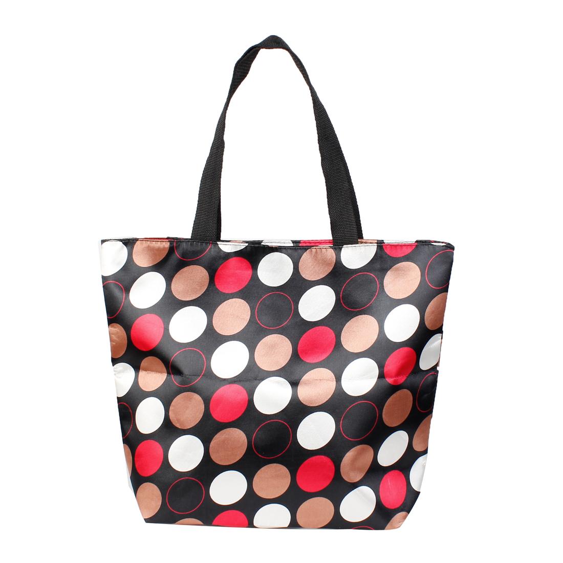 Folded Black Brown Circle Dots Pattern Zipper Reusable Shopping Totes Bag